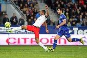 Paris SaintGermain's Brazilian midfielder Lucas Moura scores a goal during the French L1 football match between Bastia and Paris Saint Germain on...
