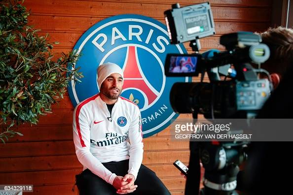 Paris SaintGermain's Brazilian midfielder Lucas Moura speaks during an interview at the Camp des Loges training centre in SaintGermainenLaye west of...
