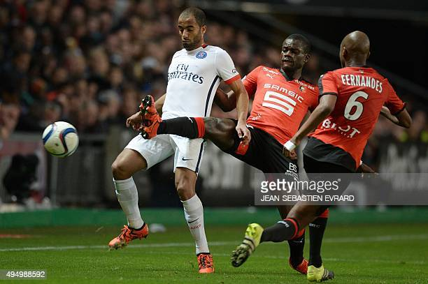 Paris SaintGermain's Brazilian midfielder Lucas Moura vies with Rennes' FrenchSenegalese defender Fallou Diagne during the French L1 football match...