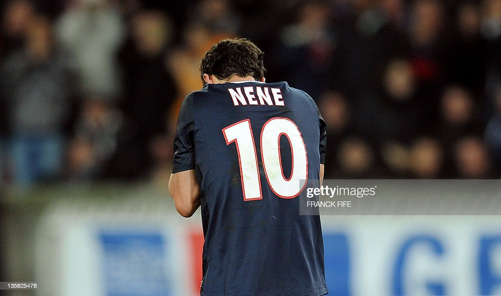 Paris Saint-Germain's Brazilian midfielder Nene reacts after missing a penalty kick during the UEFA Europa league football match Paris vs Athletic Bilbao on December 14, 2011 at the Parc des Princes stadium in Paris. Paris won 4-2.