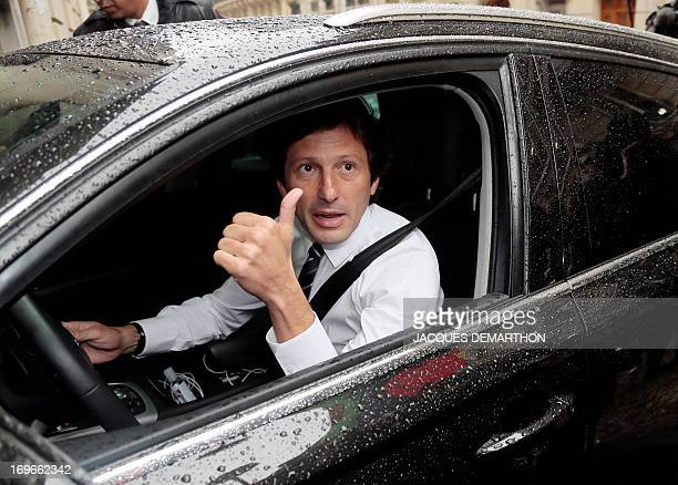 Paris SaintGermain's Brazilian sporting director Leonardo gestures upon his arrival for an hearing at the disciplinary commission of the French...