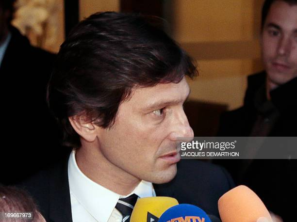 Paris SaintGermain's Brazilian sporting director Leonardo speaks to the press after a hearing at the disciplinary commission of the French Football...