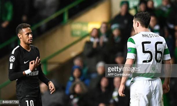 Paris SaintGermain's Brazilian striker Neymar gestures to Celtic's Scottish defender Anthony Ralston during the UEFA Champions League Group B...