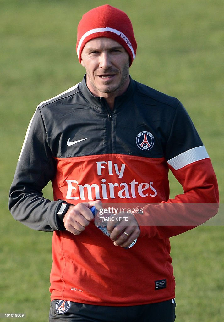Paris Saint-Germain's British midfielder David Beckham leaves a training session on February 13, 2013 at the club's Camp des Loges training center in Saint-Germain-en-Laye, near Paris. Beckham, PSG's latest prized signing, is taking part in his first full training session today, with the view to possibly making his debut in February 17's L1 match at Sochaux.