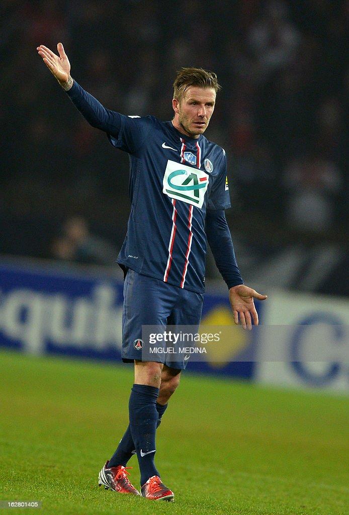 Paris Saint-Germain's British midfielder David Beckham reacts during the French Cup football match between Paris Saint Germain (PSG) vs Olympique de Marseille (OM) on February 27, 2013 at the Parc-des-Princes stadium in Paris. AFP PHOTO / MIGUEL MEDINA
