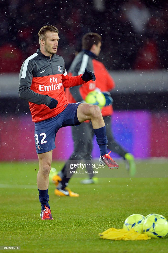 Paris Saint-Germain's British midfielder, David Beckham, warms up before the French L1 football match Paris Saint-Germain (PSG) vs Olympique de Marseille (OM) on February 24, 2013 at the Parc des Princes stadium in Paris.