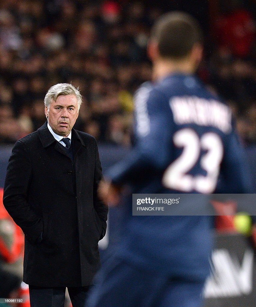 Paris Saint-Germain's coach Carlo Ancelotti attends the French L1 football match Paris Saint-Germain (PSG) vs Bastia, on February 8, 2013 at the Parc des Princes stadium in Paris. AFP PHOTO / FRANCK FIFE