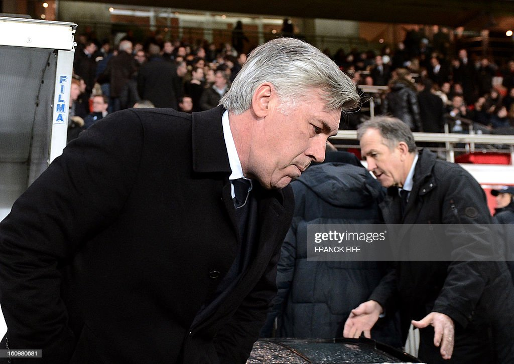 Paris Saint-Germain's coach Carlo Ancelotti is pictured prior to the French L1 football match PSG vs Bastia on february 8, 2013 at the Parc des Princes stadium in Paris. AFP PHOTO FRANCK FIFE