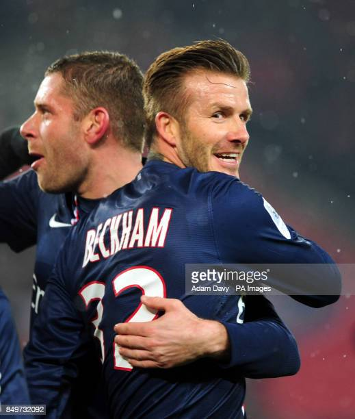 Paris SaintGermain's David Beckham celebrates after Zlatan Ibrahimovic scored his sides second goal during the Ligue One match at Parc des Princes...