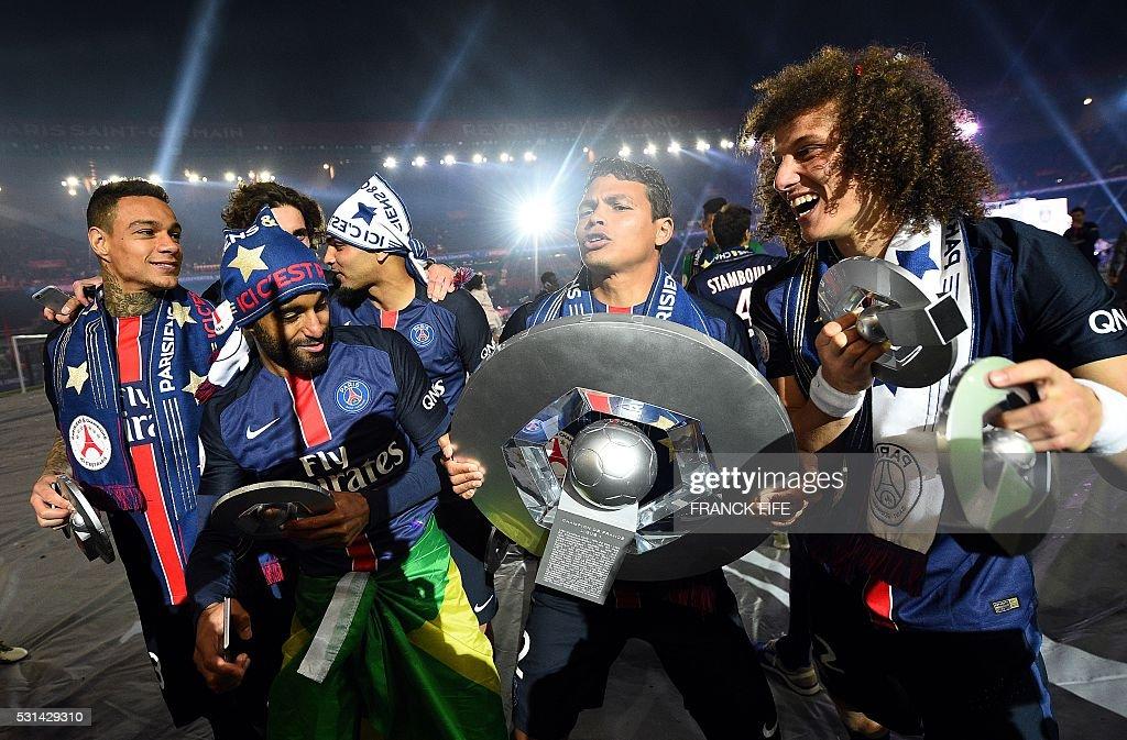 Paris SaintGermain's Dutch defender Gregory Van der Wiel Brazilian midfielder Lucas Moura Brazilian defender Thiago Silva and Brazilian defender...
