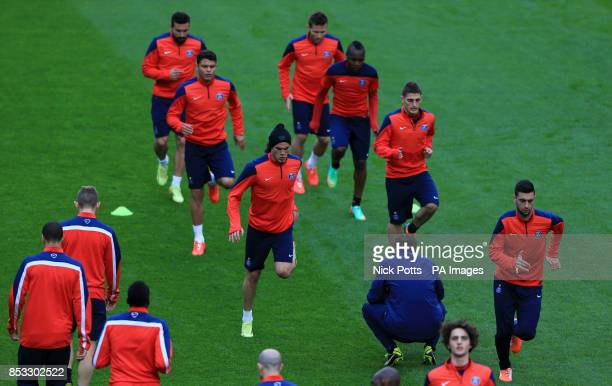Paris SaintGermain's Edinson Cavani and Javier Pastore during training session at Stamford Bridge London