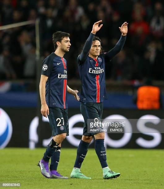 Paris SaintGermain's Edinson Cavani celebrates after the final whistle with teammate Javier Pastore