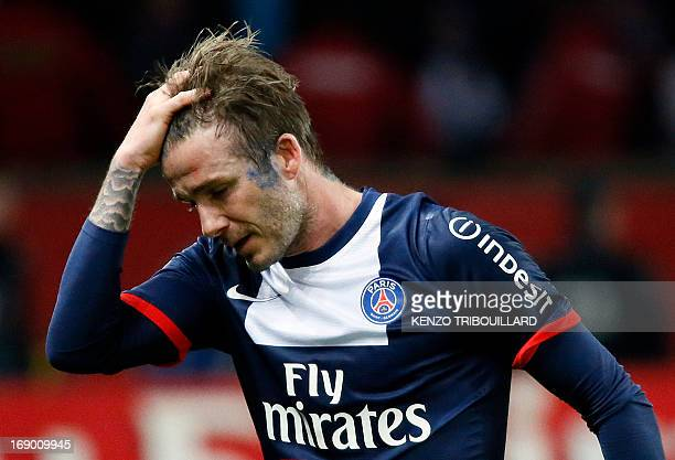Paris SaintGermain's English midfielder David Beckham walks off the pitch after the French L1 football match between Paris St Germain and Brest on...