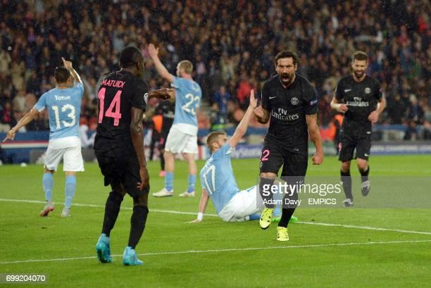 Paris SaintGermain's Ezequiel Lavezzi celebrates his goal only for it to be ruled out