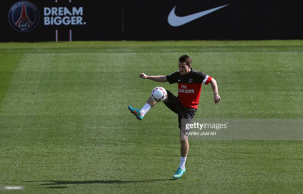 Paris Saint-Germain's (PSG) forward Kevin Gameiro attends a training session at the Aspire Academy of Sports Excellence in the Qatari capital Doha on December 30, 2012. PSG is in Qatar for a week-long training camp before the resumption of the French Ligue 1 after the winter break.