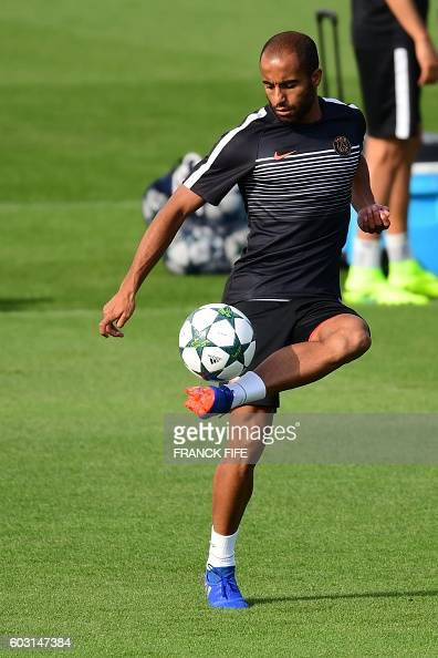 Paris SaintGermain's forward Lucas Moura takes part in a training session on the eve of the UEFA Champions League football match ParisSaint Germain...