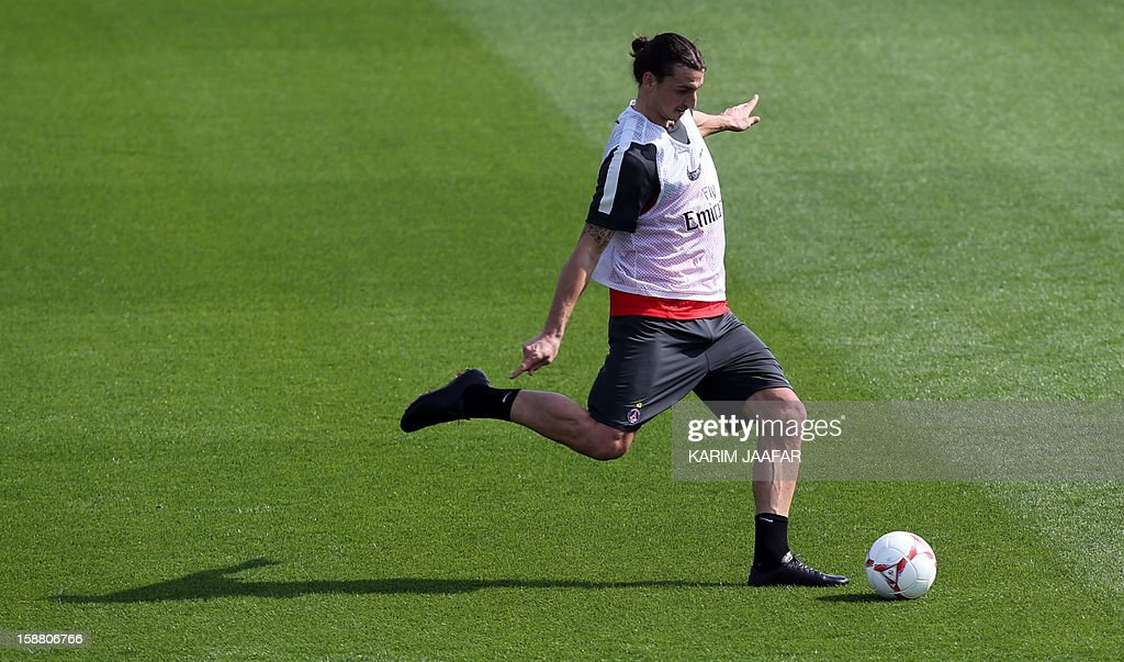 Paris Saint-Germain's forward Zlatan Ibrahimovic attends a training session at the Aspire Academy of Sports Excellence in the Qatari capital Doha on December 30, 2012. PSG is in Qatar for a week-long training camp before the resumption of the French Ligue 1 after the winter break.