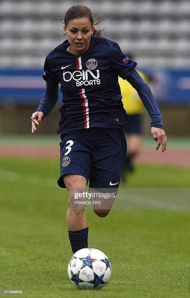 Paris Saint-Germain's French defender <a gi-track='captionPersonalityLinkClicked' href=/galleries/search?phrase=Laure+Boulleau&family=editorial&specificpeople=7890874 ng-click='$event.stopPropagation()'>Laure Boulleau</a> controls the ball during the UEFA Women's Champions League semi-final second leg football match Paris Saint-Germain vs VfL Wolfsburg at the Charlety stadium in Paris on April 26, 2015.