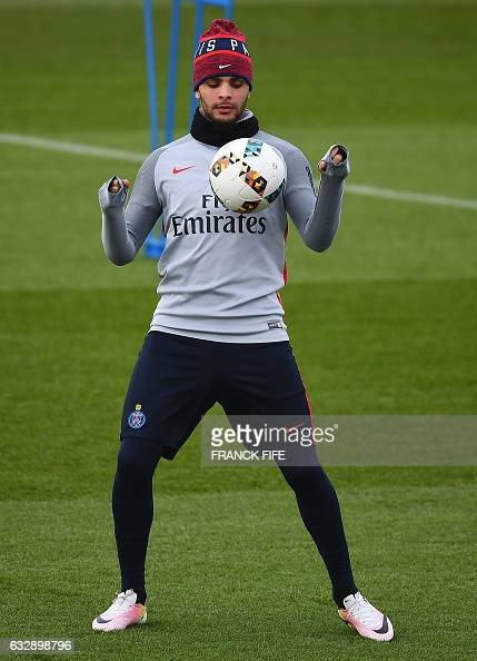 Paris SaintGermain's French defender Layvin Kurzawa controls the ball during a training session on January 28 2017 in SaintGermainenLaye western...