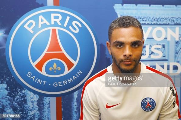 Paris SaintGermain's French defender Layvin Kurzawa poses for a photograph at the Camp des Loges training centre in SaintGermainenLaye west of Paris...