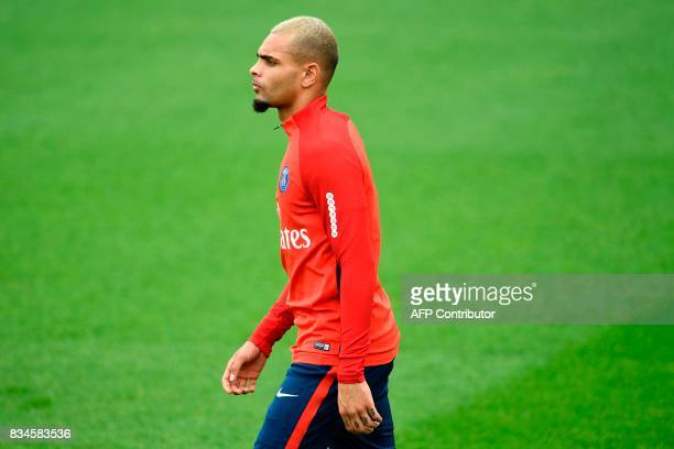 Paris SaintGermain's French defender Layvin Kurzawa takes part in a training session at the Camp des Loges in SaintGermainenLaye near Paris on August...