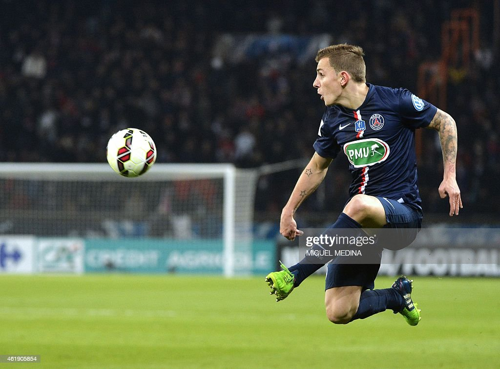 Paris Saint-Germain's French defender <a gi-track='captionPersonalityLinkClicked' href=/galleries/search?phrase=Lucas+Digne&family=editorial&specificpeople=5805298 ng-click='$event.stopPropagation()'>Lucas Digne</a> kicks the ball during the French cup football match between Paris Saint-Germain and the Girodins de Bordeaux at the Parc des Princes stadium in Paris on January 21, 2015. AFP PHOTO / MIGUEL MEDINA
