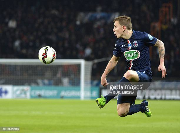 Paris SaintGermain's French defender Lucas Digne kicks the ball during the French cup football match between Paris SaintGermain and the Girodins de...