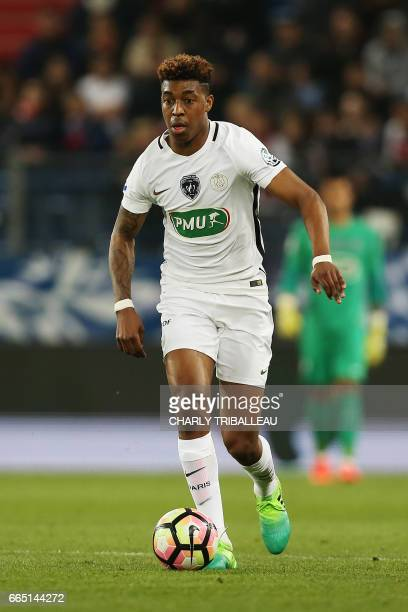 Paris SaintGermain's French defender Presnel Kimpembe controls the ball during the French Cup football match between Avranches and Paris SaintGermain...
