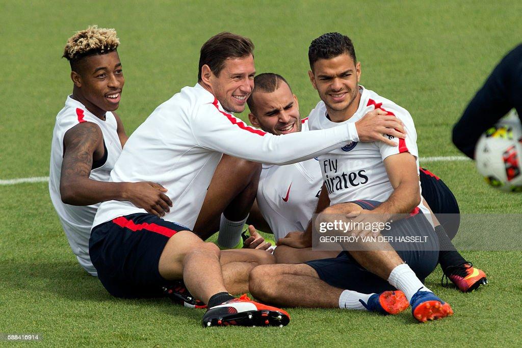 Paris SaintGermain's French defender Presnel Kimpembe Paris SaintGermain's polish defender Grzegorz Krychowiak Paris SaintGermain's Spanish forward...
