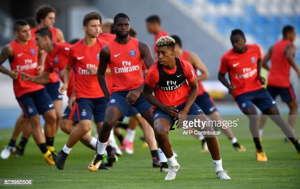 Paris SaintGermain's French defender Presnel Kimpembe takes part in a training session at the Grand Stade in Tangiers on July 28 2017 on the eve of...