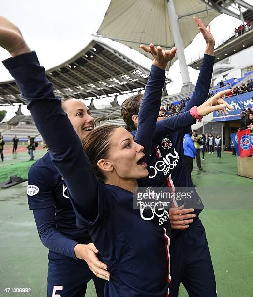 Paris SaintGermain's French defender Sabrina Delannoy and Paris SaintGermain's French defender Laure Boulleau celebrate at the end the UEFA Women's...