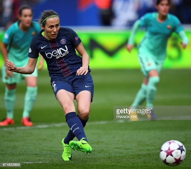 Paris SaintGermain's French defender Sabrina Delannoy scores the opening goal during the UEFA Women's Champions League semifinal second leg football...