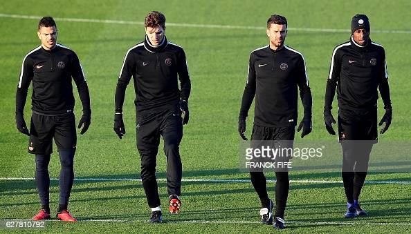 Paris SaintGermain's French forward Hatem Ben Arfa Belgian defender Thomas Meunier Italian midfielder Thiago Motta and French midfielder Blaise...