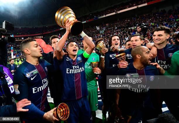 Paris SaintGermain's French forward Hatem Ben Arfa Brazilian defender Thiago Silva French midfielder Adrien Rabiot Brazilian midfielder Lucas Moura...