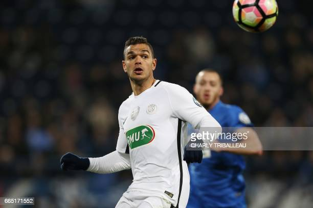 Paris SaintGermain's French forward Hatem Ben Arfa eyes the ball during the French Cup football match between Avranches and Paris SaintGermain on...