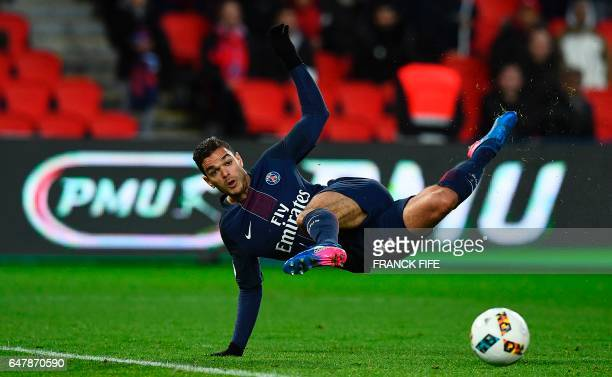 Paris SaintGermain's French forward Hatem Ben Arfa kicks the ball during the French L1 football match between Paris SaintGermain and Nancy at the...