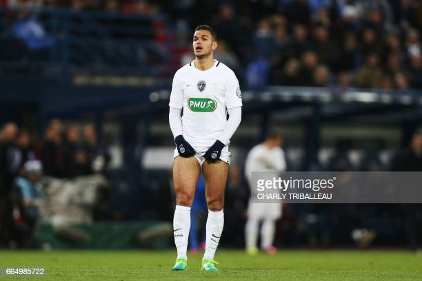 Paris SaintGermain's French forward Hatem Ben Arfa reacts during the French Cup football match between Avranches and Paris SaintGermain at Michel...