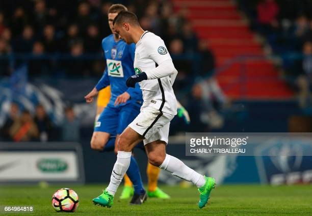 Paris SaintGermain's French forward Hatem Ben Arfa scores during the French Cup football match between Avranches and Paris SaintGermain on April 5 in...