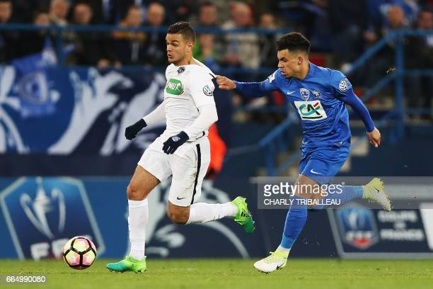 Paris SaintGermain's French forward Hatem Ben Arfa vies for the ball with Avranches' Pierre Lavenant during the French Cup football match between...