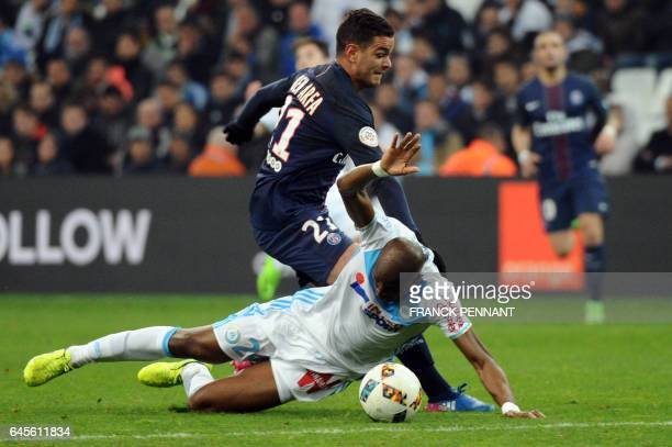 Paris SaintGermain's French forward Hatem Ben Arfa vies with Olympique de Marseille's French defender Rod Fanni during the French L1 football match...