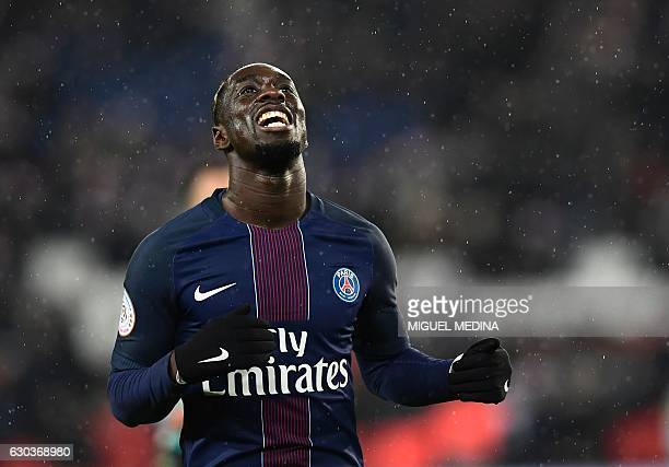 Paris SaintGermain's French forward JeanKevin Augustin reacts during the French L1 football match between Paris SaintGermain and Lorient at the Parc...
