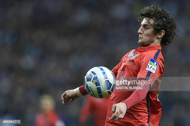 Paris SaintGermain's French midfielder Adrien Rabiot controls the ball during the French League Cup final football match Bastia vs Paris SaintGermain...