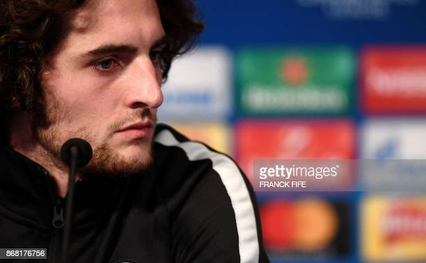 Paris SaintGermain's French midfielder Adrien Rabiot looks on during a press conference at the Parc des Princes stadium in Paris on October 30 2017...