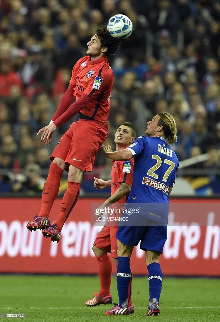 Paris Saint-Germain's French midfielder <a gi-track='captionPersonalityLinkClicked' href=/galleries/search?phrase=Adrien+Rabiot&family=editorial&specificpeople=9515039 ng-click='$event.stopPropagation()'>Adrien Rabiot</a> (L) vies with Bastia's Belgian midfielder <a gi-track='captionPersonalityLinkClicked' href=/galleries/search?phrase=Guillaume+Gillet&family=editorial&specificpeople=4542498 ng-click='$event.stopPropagation()'>Guillaume Gillet</a> (R) during the French League Cup final football match Bastia (SCB) vs Paris Saint-Germain, on April 11, 2015 at the Stade de France in Saint-Denis, outside Paris.