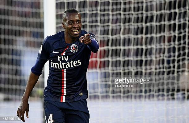 Paris SaintGermain's French midfielder Blaise Matuidi celebrates after scoring his team's third goal during the French L1 football match between...