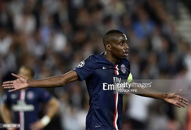 Paris SaintGermain's French midfielder Blaise Matuidi reacts during the UEFA Champions league quarterfinal first leg football match PSG vs FC...