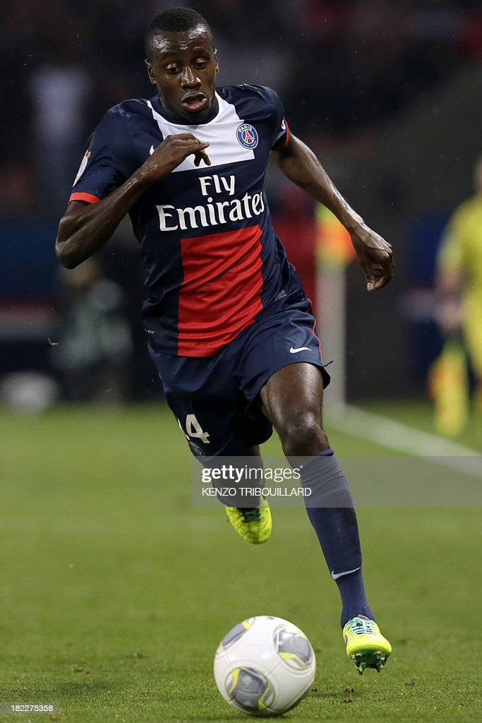 Paris Saint-Germain's French midfielder Blaise Matuidi runs with the ball during the French L1 football match between Paris Saint-Germain and Toulouse at the Parc des Princes Stadium in Paris on September 28, 2013. PSG won 2-0.