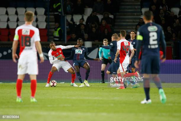 Paris SaintGermain's French midfielder Blaise Matuidi  vies with Monaco's French defender Abdou Diallo during the French Cup semifinal match between...