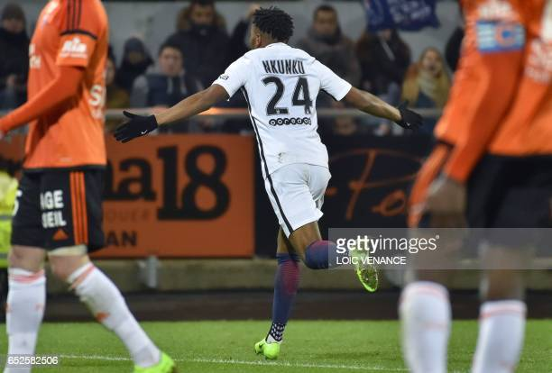 Paris SaintGermain's French midfielder Christopher Nkunku celebrates after scoring during the French L1 football match Lorient vs Paris SG at the...