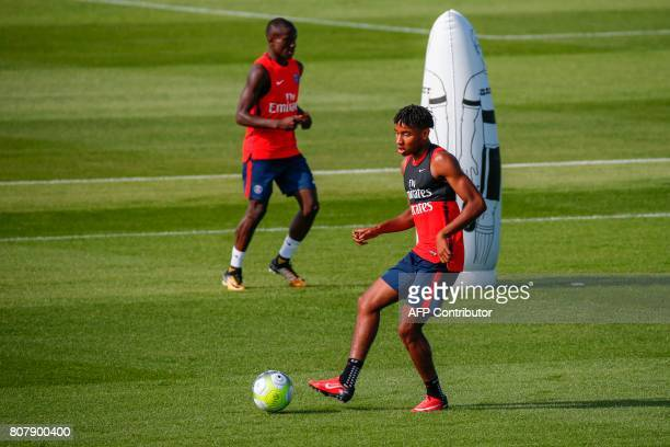 Paris SaintGermain's French midfielder Christopher Nkunku takes part in a training session at the Oredoo training Centre in SaintGermainenLaye on...